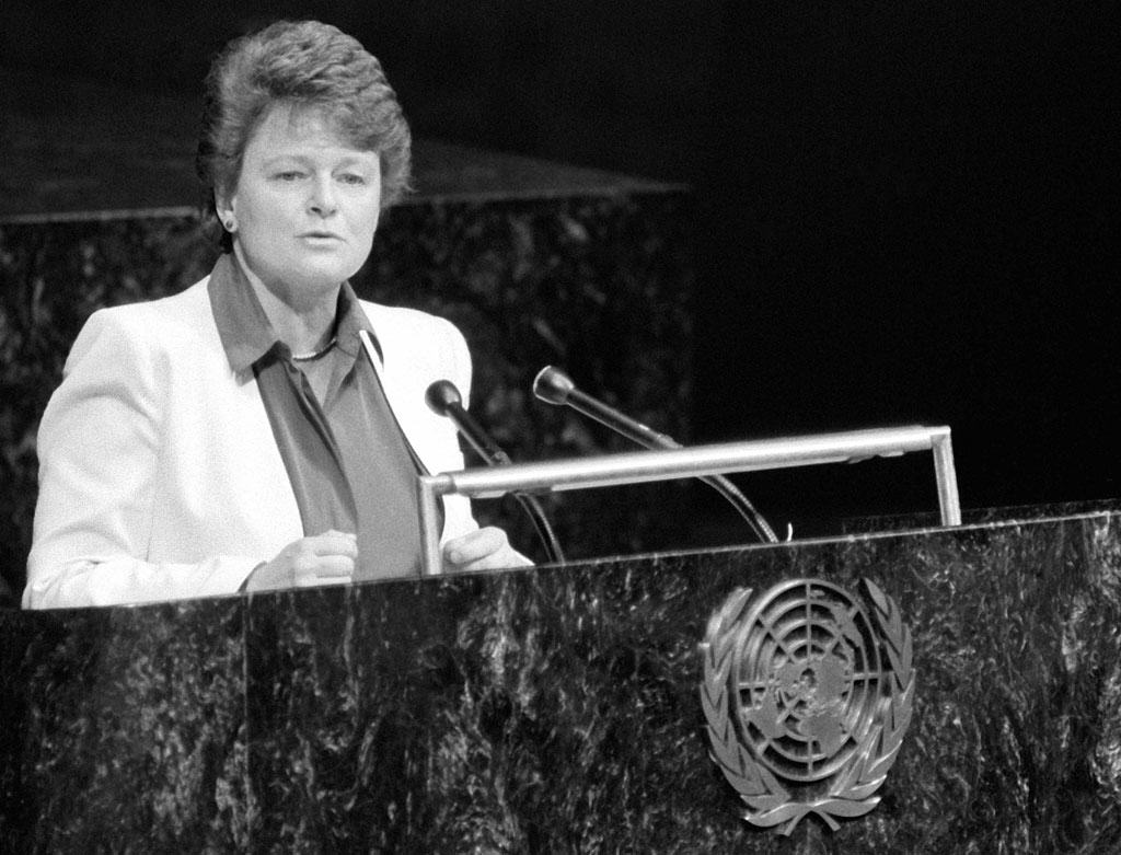In 1987 the World Commission on Environment and Development, headed by Gro Harlem Brundtland, provided a blueprint for sustainable development that still guides policy today. Photo: United Nations.
